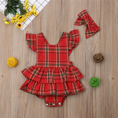 Xmas Christmas Sleeveless Backless Clothes Ruffle Bodysuits Bow Headband Outfits Newborn Baby Girls Bodysuit Red Plaid Cotton