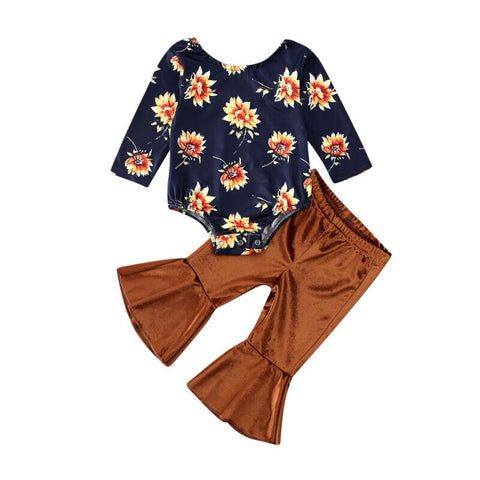 Girl Clothes Set Toddler Newborn Infant Baby Spring Long Sleeve Floral O-neck Tops Bodysuit Flare Pants Clothing Outfits 2PCs