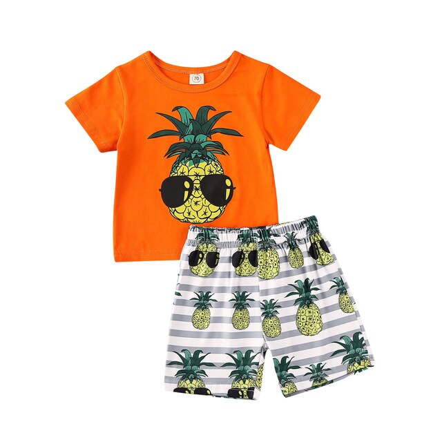 Newborn Baby Boy 2Pcs Outfit Tshirt Tops And Shorts Toddlers Shorts Clothes Sets