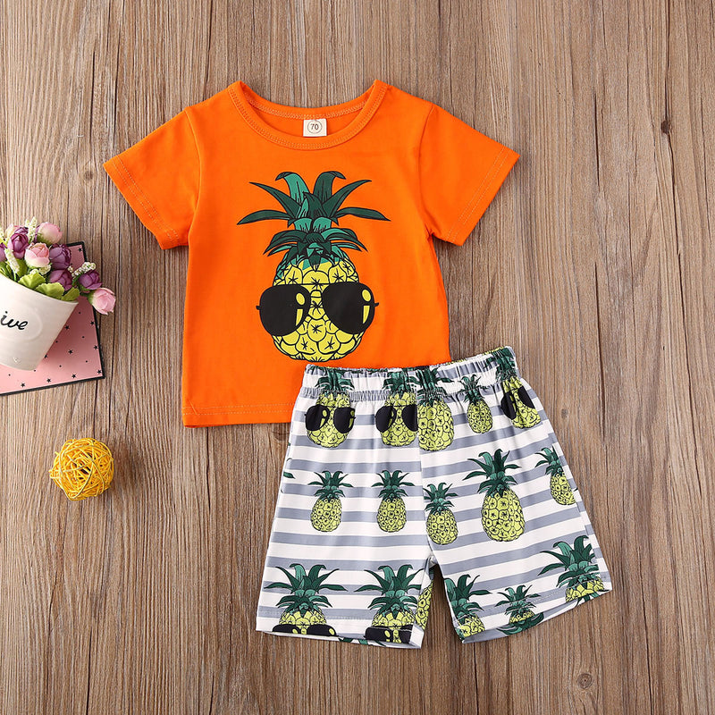 Pineapple Summer Short Sleeve Tops T-Shirt Shorts Clothing Beach Cute Outfits 2PCs Newborn Kids Infant Baby Boy Clothes Set