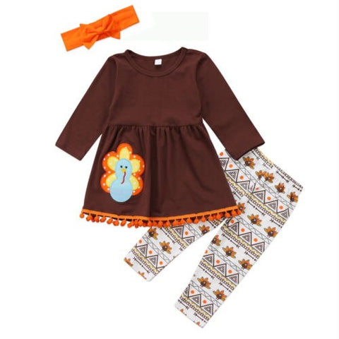 Enfant Children Girls Print Brief Clothing Set Turkey Child Kids Baby Girl Outfit Clothes Dress T Shirt Tops Leggings Headband