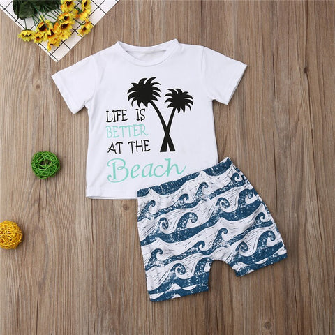 Summer Short Sleeve Letter T-shirt Shorts Outfits Cotton Costume Clothing Hawaiian Style Infant Baby Kids Boy Clothes Set