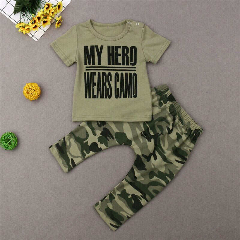 Summer Short Sleeve Letter T-shirt Tops Pants Outfits Costume Clothing 2PCS 0-24M Newborn Toddler Baby Boys Camo Clothes Set