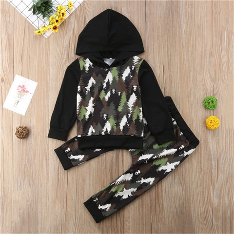 Autumn Long Sleeve Forest Panda Hooded Tops Pants Boys Girls Clothing Cotton Outfits 2PCs Newborn Baby Girl Boy Clothes Set