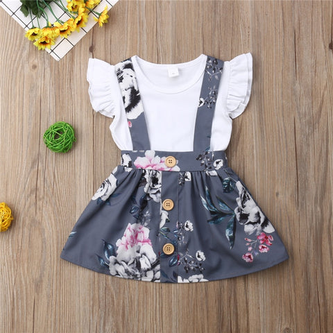Summer Sleeveless Jumpsuits Short Gray Floral Skirt Costume Clothing 2PCS Outfits Toddler Kids Baby Girls Clothes Set