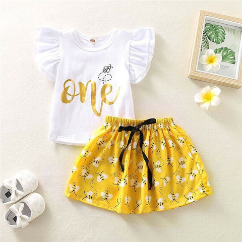 Kid Baby Girl Clothes Set Newborn Infant Toddler Summer Short Sleeve O-Neck T-shirt Bee Print Skirt 2Pcs Outfit Costume Clothing