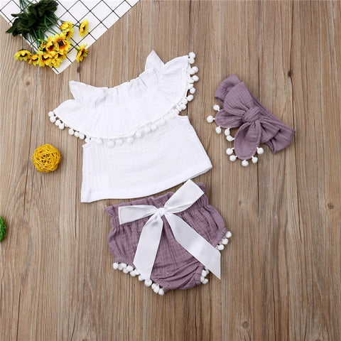 Baby Girls Clothes Set Newborn Infant Toddler Summer Ruffle Sleeveless Tassel Tops Purple Shorts Headband 3Pcs Outfit