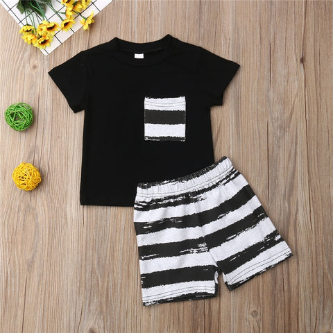 Summer Black Short Sleeve Sleeveless T-Shirt Tops Shorts Clothing Costume Casual Outfit Toddler Kid Baby Boys Clothes Set