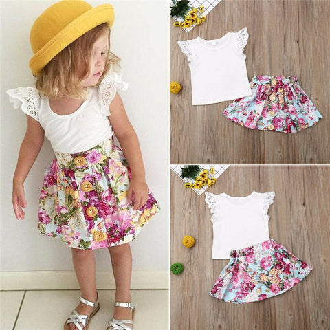 Newborn Infant Toddler Baby Girl Clothes Set Summer Sleeveless O-Neck Lace Top Floral Skirt Outfits Costume Clothing 2Pcs