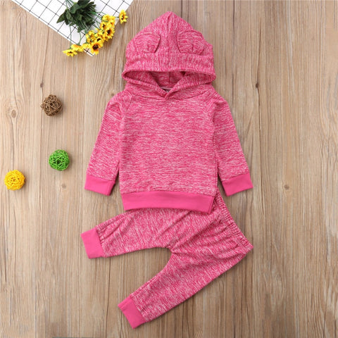 Autumn Long Sleeve Ear Hooded Tops Pants Boy Girl Clothing Solid Gray 2PCS Outfits Fashion Newborn Baby Boys Girls Clothes Set