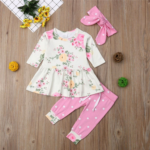Floral Long Sleeve Tops Dress Pants Headband Girl Clothing Cute Cotton Outfits 3PCs Toddler Newborn Baby Girls Clothes Set