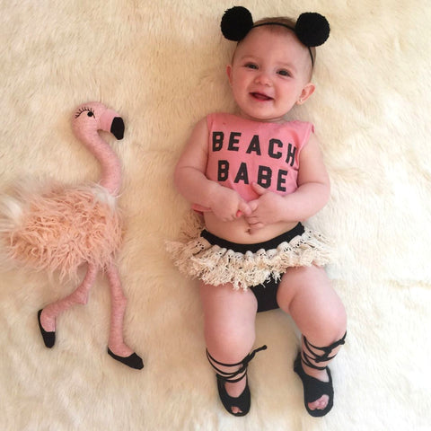 Newborn Kids Baby Girls Sleeveless Crop Top Tassels Shorts Outfit Clothes Summer Toddler Infant Girl Letter Tops Shorts 2PCS