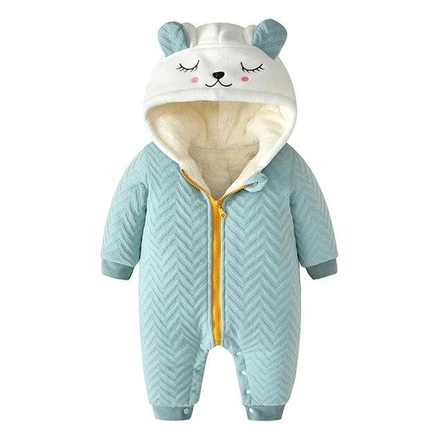Newborn Clothing Autumn/Winter Solid Cute Cat Hooded Thick Infant Romper Jumpsuit Baby Snowsuit Baby For 0-24M