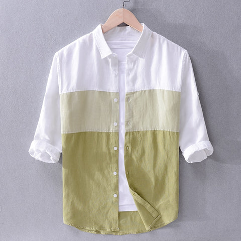 New Italy brand linen shirts men summer color matching shirt mens casual flax shirt male tops