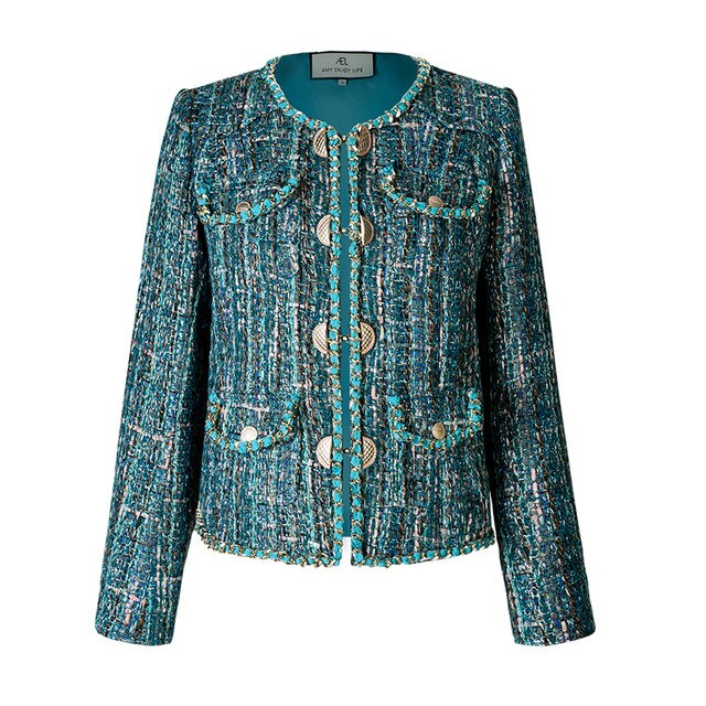 dark green Tweed jacket woman high quality Double Breasted short Jacket Coat spring autumn new
