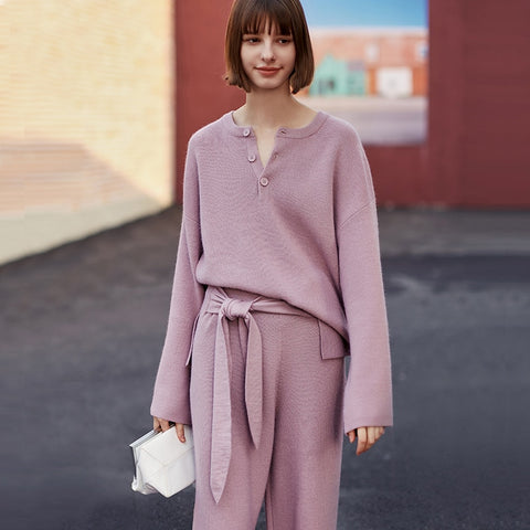 Autumn spring Wool knitted tracksuit O-neck Pullover sweatshirts women Bottoming shirt Violet fashion Basics knit tops