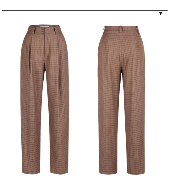 Autumn Straight Pants British style Woman Trousers Lattice Plaid Retro Easy wear Feet Pants