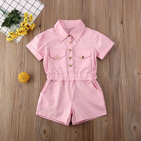 Toddler Baby Girl Clothes Solid Color Short Sleeve Button Romper Jumpsuit One-Piece Outfit Overalls Sunsuit Clothes