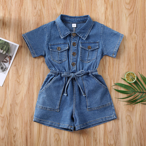 Pudcoco Toddler Baby Girl Clothes Solid Color Short Sleeve Denim Romper Jumpsuit One-Piece Outfit Sunsuit Clothes