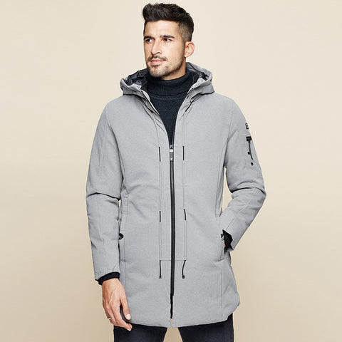 New Winter Mens Parkas Hooded Thick Gray Black Color Brand Clothing Man's Slim Fit Warm Clothes Male Wear Coats Plus Size