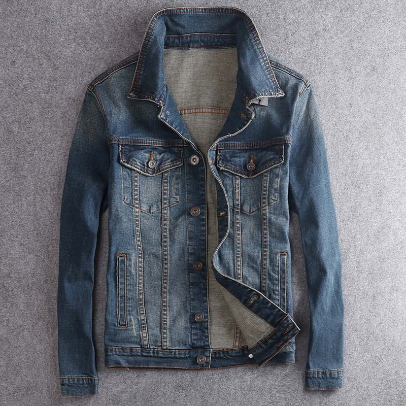 Cotton Solid Denim Jacket Mens Spring Autumn Casual Slim Fit Jackets Men Jean Jacket Mens Outwear Male Cowboy
