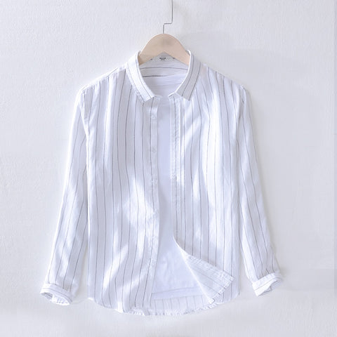 Mens Striped Short Sleeve Dress Shirts High Quality Linen Breathable Soft Classic Shirt Chinese Retro Vintage