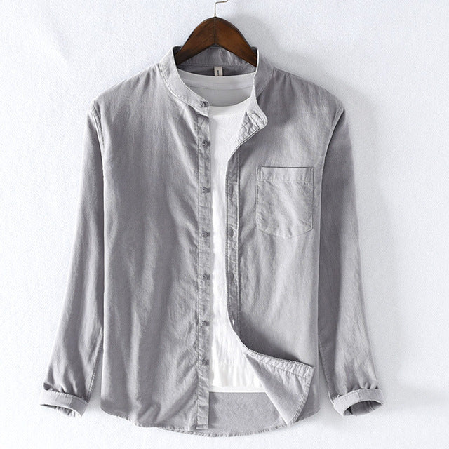 Men's Baggy Solid Cotton Long Sleeve Button Pocket Shirts