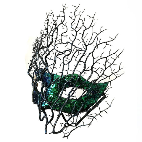 Feather Flower Colorful Lace Mask Venetian Masquerade Halloween Ball Party Tree Branches Antler Mask Costumes