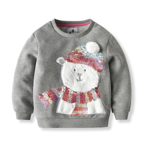 Children Girls Spring Sweatshirts Long Sleeve Snowman Sequins Tops Warm Teenager Cotton T-Shirt 5 6 7 8 9 10 11 12 13 14 Years