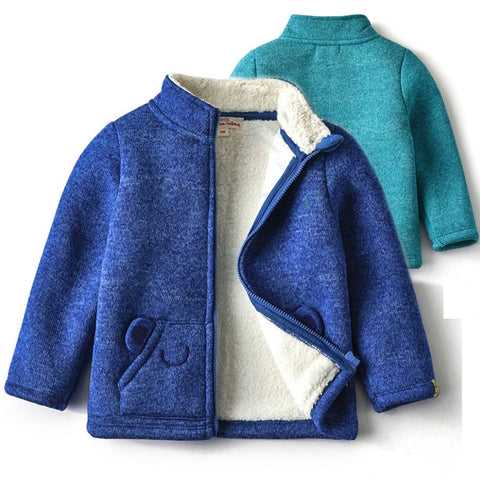 Baby Jacket Spring Autumn New Boys Girls Solid Fleece Trench Jacket Zipper Outerwear Bear Ear Pocket Thicken Warm Winter Clothes