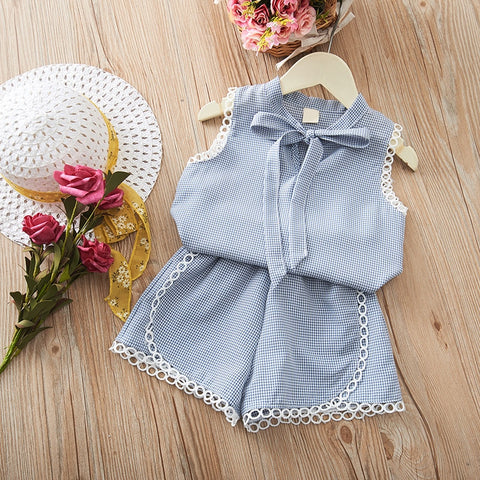 Baby Girl Clothes Summer Baby Girls Casual Off-shoulder Short Sleeve Tops T-shirt Blouse+Mini Skirts Child Costume Set For Girls