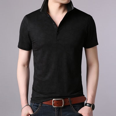 New Casual Men  Cotton Fashion Print   Polo shirts Summer Short-sleeve  Homme