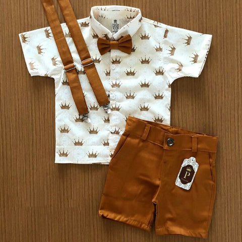 New Kids Boys Summer Clothes Toddler Gentleman T-shirt Tops Shorts Outfits 2Pcs Kids Baby Boys Casual Clothes Sets