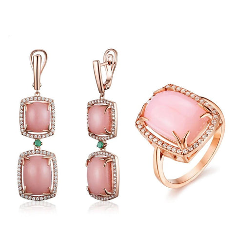 Opal jewelry set natural pink opal match emerald 925 sterling silver ring and earring fine jewelry for women new style