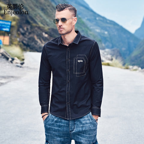 Men's Autumn Casual Long Sleeved Turn-down Shirt New Embroidered Shirt Black Shirt Men Clothes Plus Size