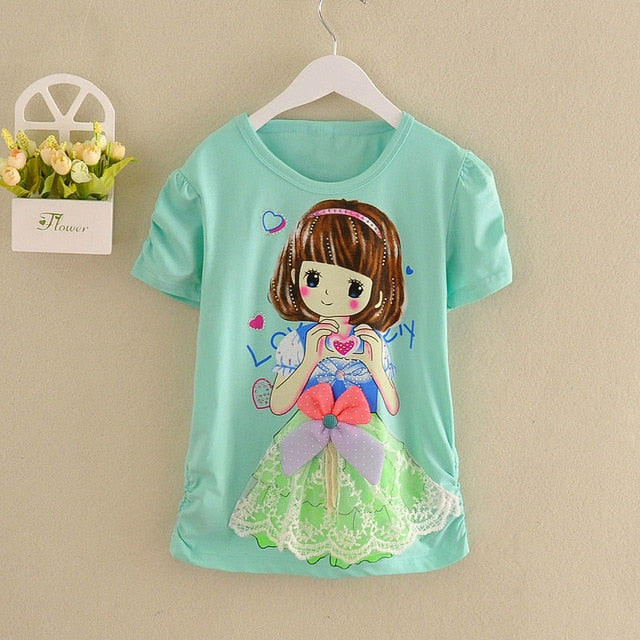 New Arrival Girls T Shirt Short Sleeve Kid Cotton Princess Tops 12 Years Birthday Shirt Cartoon Clothes Children Summer Clothing