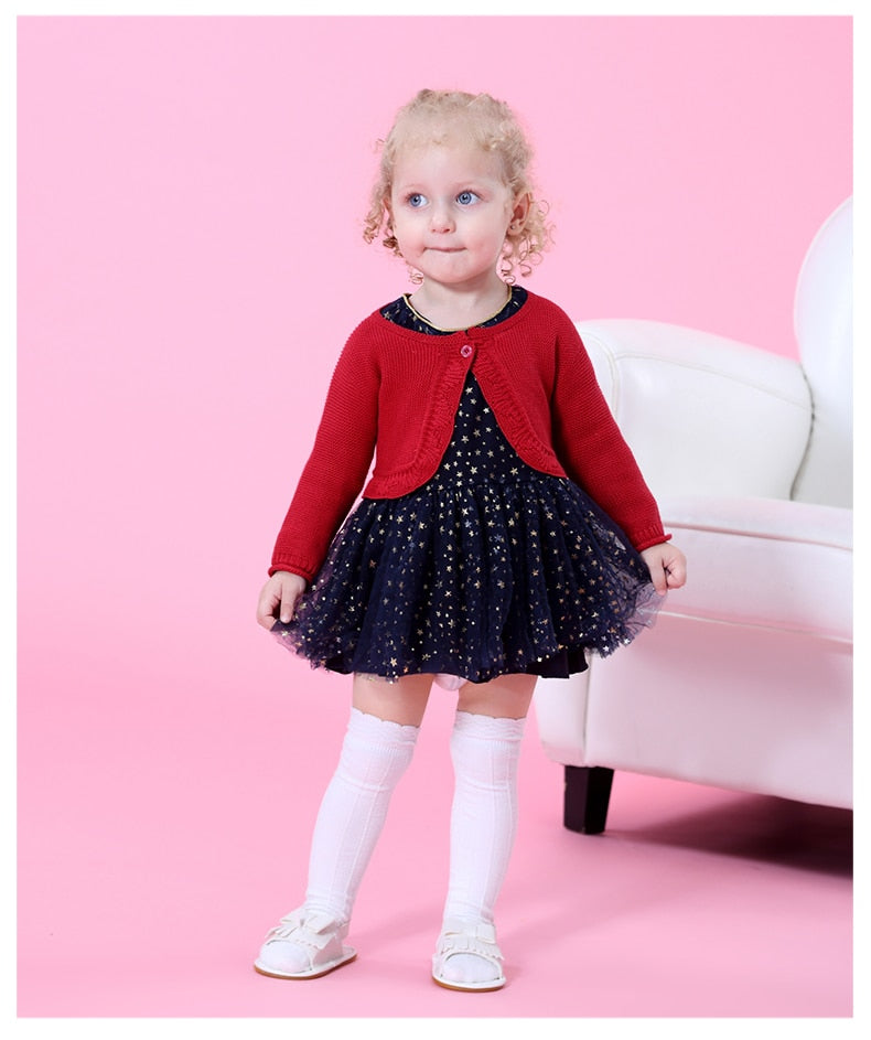 Spring Autumn Long Sleeve Baby Dress for 1 Year Birthday Red Baby Girl Party Dress Shawl + Stars Pattern baby Princess Dress