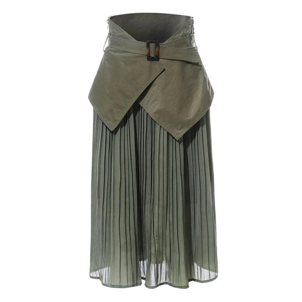 High waist belts seal green pleated chiffon patchwork chiffon two pieces long skirts bottoms