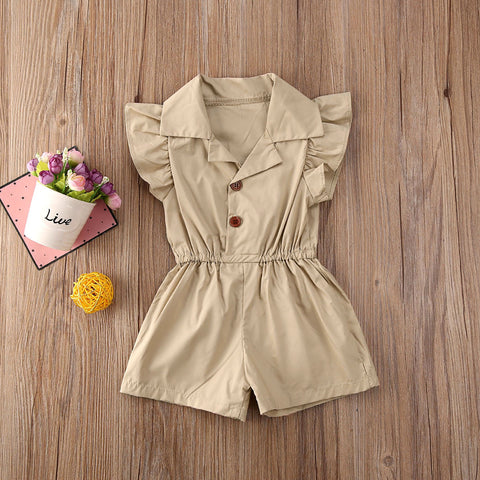 Newborn Baby Girl Clothes Solid Color Sleeveless Ruffle Button Romper Jumpsuit One-Piece Outfit Overalls Clothes