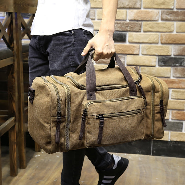 Vintage military Canvas men travel bags Carry on Luggage bags Men Duffel bags travel tote large weekend Bag Overnight