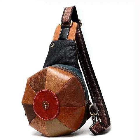 Crossbody Bags for Women Chest/Sling Bags Women's Bag Genuine Leather Shoulder/Messenger Bag Patchwork Female Chest Pack