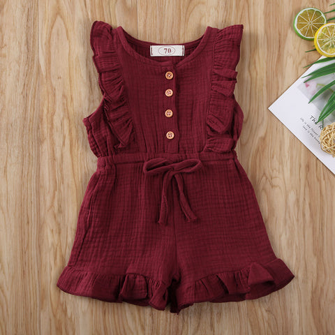 Newborn Baby Boy Girl Clothes Solid Color Sleeveless Ruffle Button Frenulum Romper Jumpsuit One-Piece Outfit Cotton Set