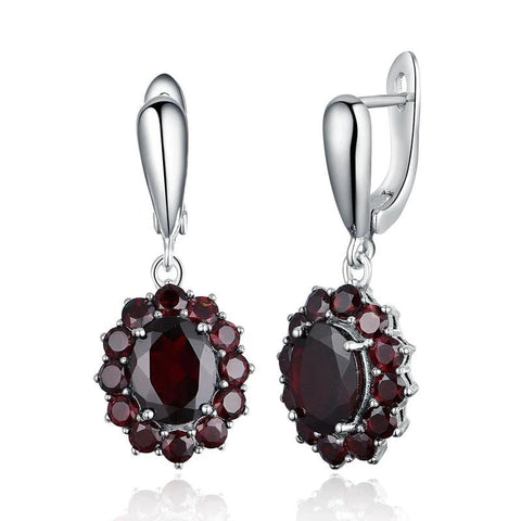 Natural gemstone black garnet earrings 925 sterling silver fine jewelry for woman birthday party & daily wear nice gift