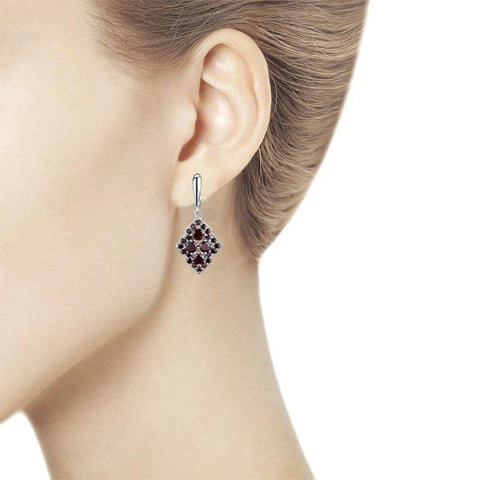 Unique design style natural gemstone garnet earrings 925 sterling silver fine jewelry for woman & girl daily wear gifts