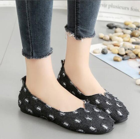 Jean Women Ballet Flats Spring Denim Flat Shoes Woman Casual Slip on Canvas Loafers Plaid Female Footwear