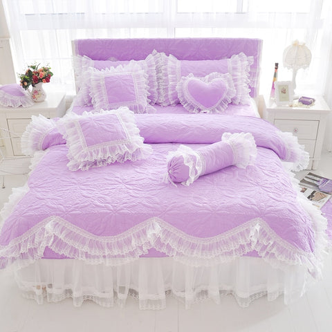 Quilted Cotton Thick Duvet Cover Lace Light Purple Blue Pink Princess Bedding set Bedskirt set Pillow shams Twin Queen King size