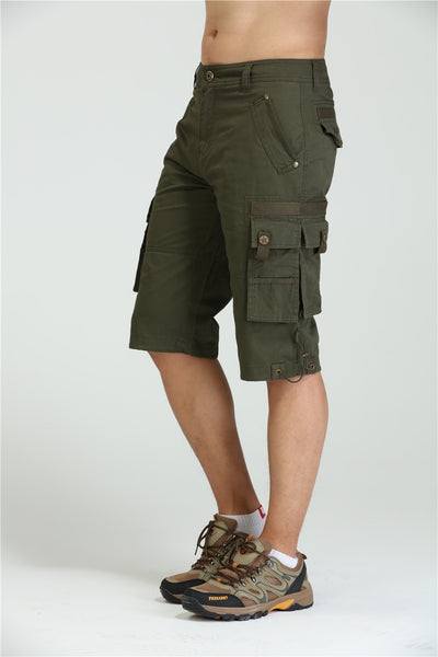 Free Army Brand New Men Military Cargo Shorts Army Green Big Pockets Decoration Mens Casual Shorts Men's Clothing MK-7105A