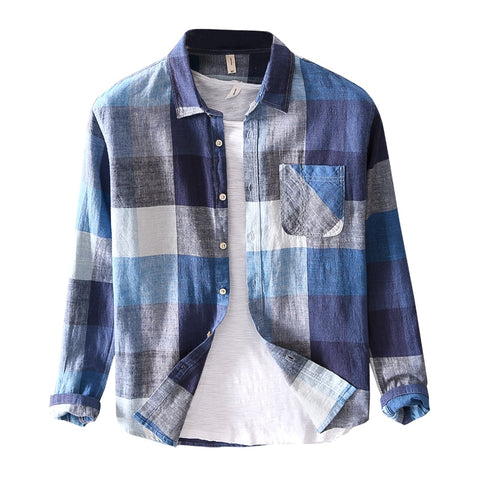 brand Italy style long-sleeved plaid shirts men cotton and linen shirt mens casual tops shirt for men