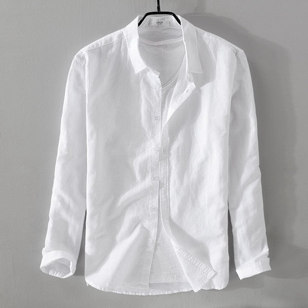 brand Italy style long-sleeved linen shirt men solid cotton men shirts summer white shirt male