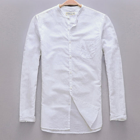 New Arrival Small Collar Long Sleeve Shirt Men Linen Spring Summer Men Shirt Cotton mens shirt with pocket